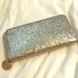Silver glitter wallet, deux lux